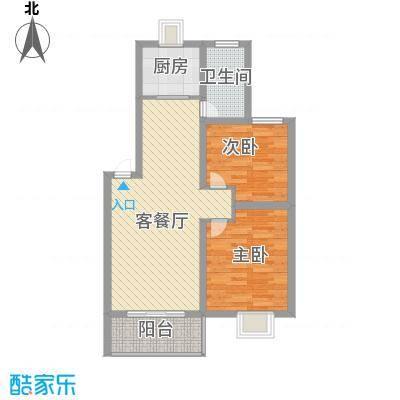 琴韵华庭86.49㎡二期18、19、23幢1-4层A3户型2室2厅1卫1厨