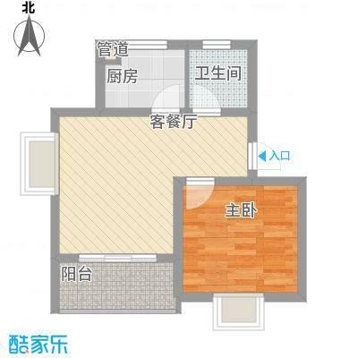 江山星汉城G型户型1室2厅1卫1厨