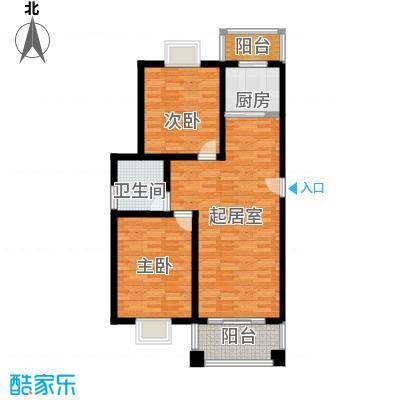双湖明珠92.28㎡9号楼一户型2室1卫1厨