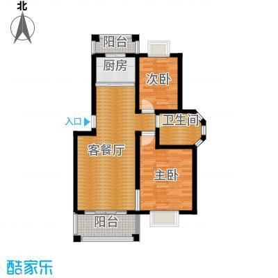 双湖明珠86.81㎡8号楼二户型2室1厅1卫1厨