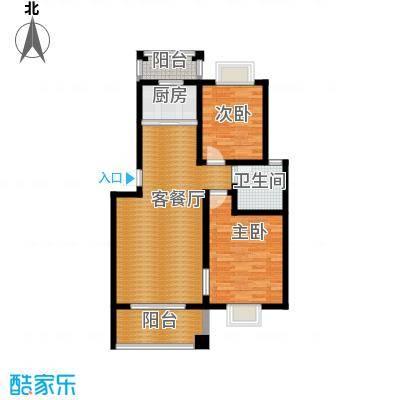 双湖明珠89.70㎡8号楼四户型2室1厅1卫1厨