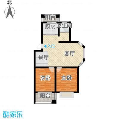 双湖明珠89.74㎡3号楼二户型2室1厅1卫1厨