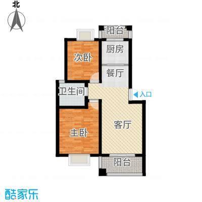 双湖明珠87.30㎡5号楼一户型2室1厅1卫1厨