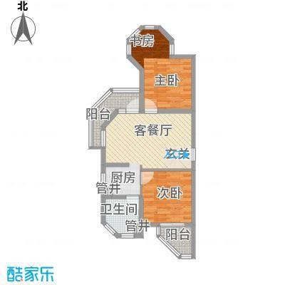那香海国际旅游度假区79.00㎡一期3、8栋标准层B3户型2室1厅1卫1厨