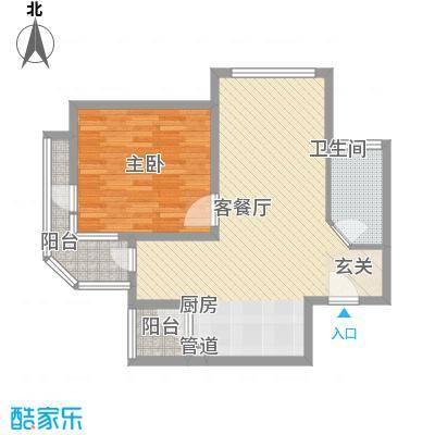 那香海国际旅游度假区90.00㎡一期1、6栋标准层D1户型2室1厅1卫1厨