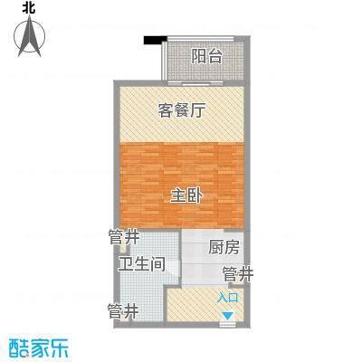 那香海国际旅游度假区87.00㎡一期2、7栋标准层B2户型2室2厅1卫1厨