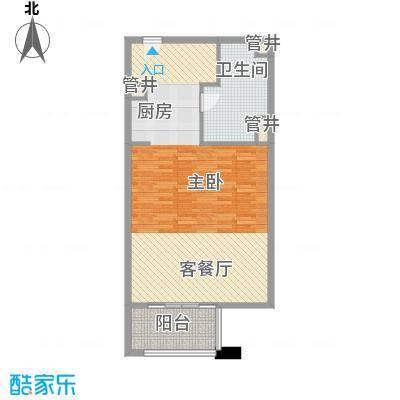 那香海国际旅游度假区89.00㎡一期4、9栋标准层B4户型2室1厅1卫1厨