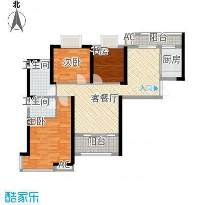 铜锣湾香逸澜湾110.00㎡高层5#楼E户型3室2厅2卫1厨
