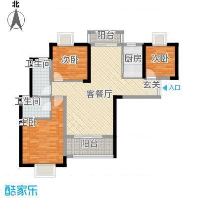 铜锣湾香逸澜湾109.00㎡高层5#楼F户型3室2厅2卫1厨