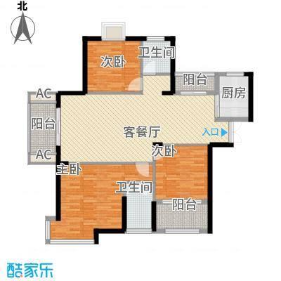 铜锣湾香逸澜湾128.00㎡高层1#、2#、3#、7#楼G户型3室2厅2卫1厨