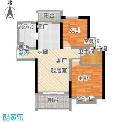 联泰香域滨江83.00㎡优品B1户型2室2厅1卫1厨