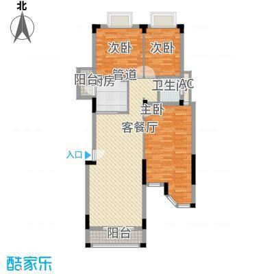 东方海德堡115.00㎡二期洋房Hc4户型三房两厅一卫115㎡户型3室2厅1卫1厨