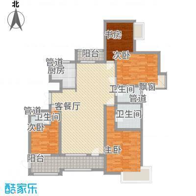 九颂山河173.00㎡3#高层楼B户型4室2厅3卫1厨