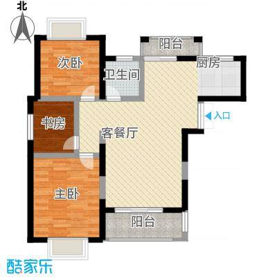 """奥克斯博客城89.55㎡二期""""蓝钻""""35#、36#楼N4户型2室2厅1卫1厨"""
