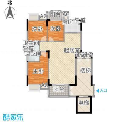 联泰香域滨江桥郡108.00㎡小高层1#楼户型3室2厅2卫1厨