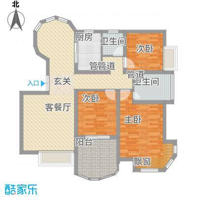 世纪中央城115.69㎡二期12#奇数层C5户型3室2厅2卫1厨