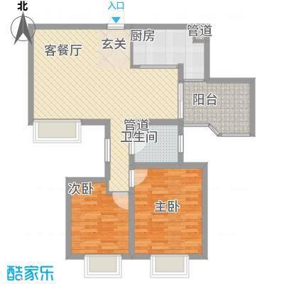 世纪中央城88.85㎡二期8、10、11、12#楼偶数层C3户型2室2厅1卫1厨