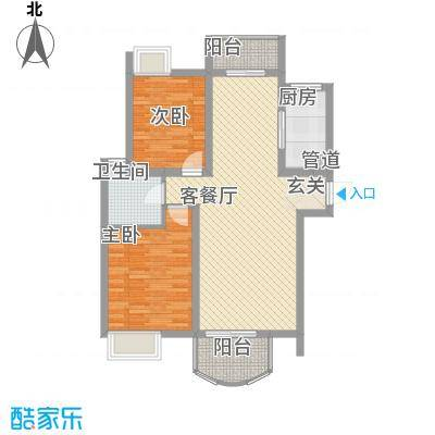 世纪中央城93.37㎡二期8、10、11、12#楼标准层C1户型2室2厅1卫1厨