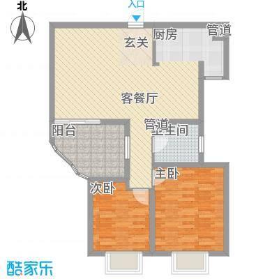 世纪中央城89.08㎡二期8、10、11、12#楼奇数层C3户型2室2厅1卫1厨