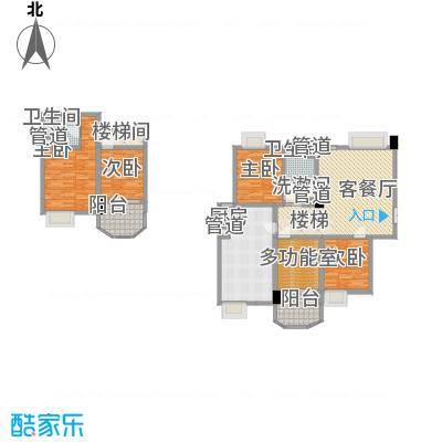 世纪中央城138.54㎡二期9#偶数层A1户型5室2厅2卫1厨