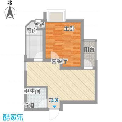 世纪中央城47.39㎡二期10、12、13#楼D2户型1室1厅1卫1厨