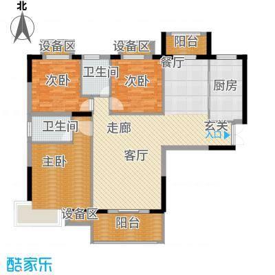 万达星城128.00㎡B3户型3室2厅2卫1厨