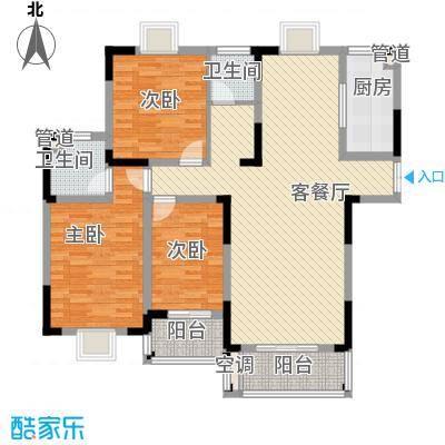 联发江岸汇景142.00㎡三期高层24、25号楼F1户型3室2厅2卫