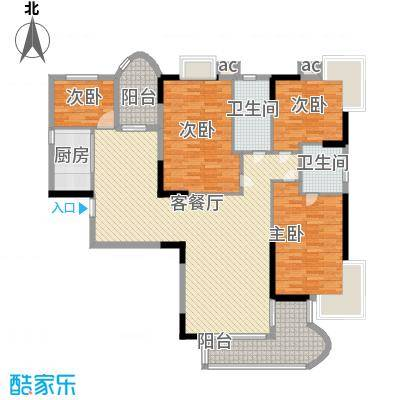 鹿�名居175.00㎡一期高层P栋L户型4室2厅2卫1厨