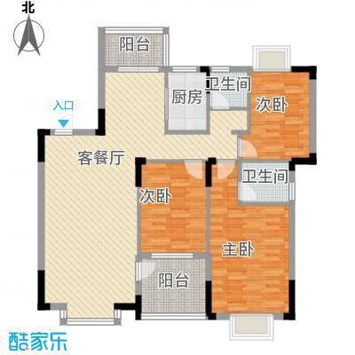 联发江岸汇景118.00㎡三期高层21#楼D1户型3室2厅2卫1厨