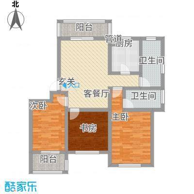 启发广场121.00㎡二期18#I户型3室2厅2卫1厨