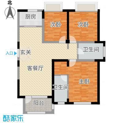 兰亭苑131.30㎡二期02幢标准层E户型3室2厅1卫1厨