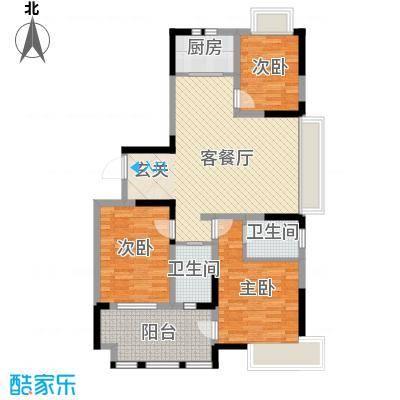兰亭苑122.56㎡6#、8#标准层F户型3室2厅2卫