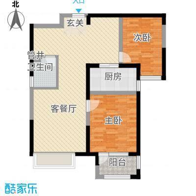 兰亭苑95.21㎡1#、2#标准层C户型2室2厅1卫