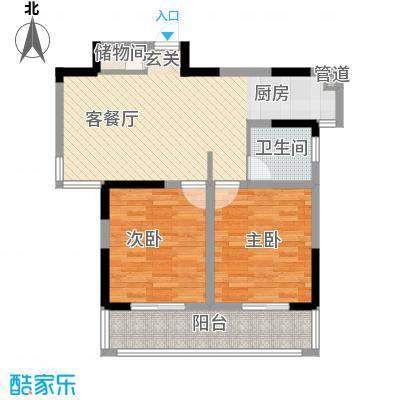 启发广场89.00㎡K户型2室2厅1卫1厨