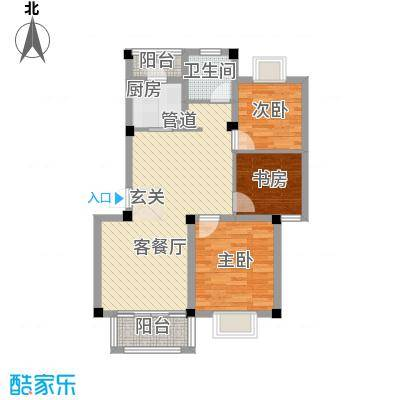 启发广场94.00㎡B户型3室2厅1卫1厨