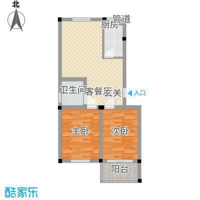 百悦家花园78.00㎡二期09幢1-6层78㎡2室2厅户型2室2厅1卫1厨