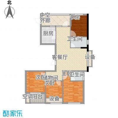紫晶环球152.00㎡一期02幢标准层B2户型152㎡户型4室2厅2卫1厨