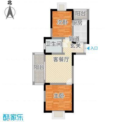 汇智・阳澄华庭82.00㎡一期3-5#楼F户型2室2厅1卫1厨
