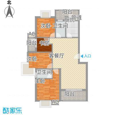 银江花园112.50㎡一期2号楼标准层B户型4室2厅2卫1厨