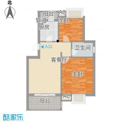 银江花园78.00㎡一期4号楼标准层G1户型2室2厅1卫1厨