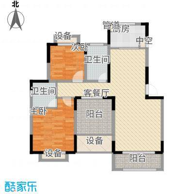 东城世家别墅108.00㎡一期J-2户型2室2厅2卫1厨