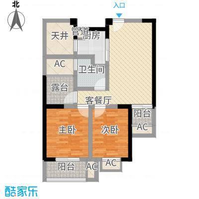 常发香城湾89.00㎡光榭8号楼B户型2室2厅1卫1厨