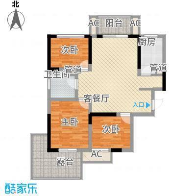 常发香城湾108.00㎡A户型(偶数层)户型2厅1卫