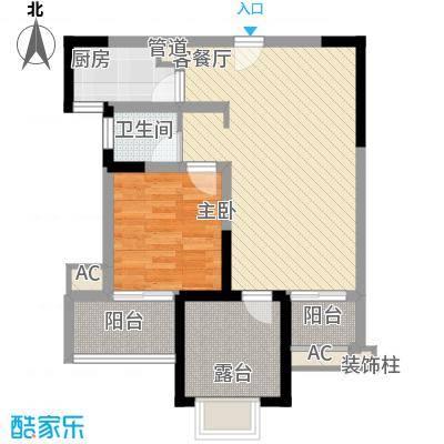 常发香城湾79.43㎡E1户型1室2厅1卫1厨