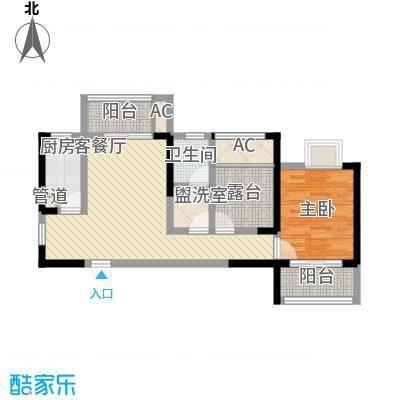 常发香城湾80.09㎡E2户型1室2厅1卫1厨