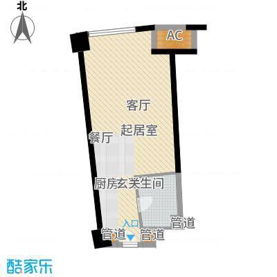 中宇国际中心47.80㎡2-19层A户型1室1厅1卫1厨