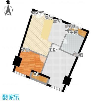 中宇国际中心66.95㎡2-19层E户型2室1厅1卫1厨