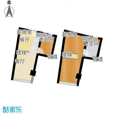 中宇国际中心43.69㎡20-25层D户型2室3厅1卫1厨