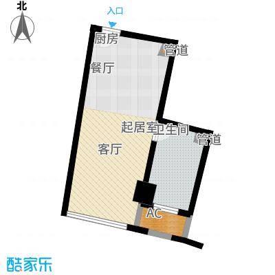 中宇国际中心43.69㎡2-19层D户型1室1厅1卫1厨