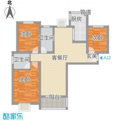 中宇花苑120.00㎡J户型3室2厅2卫1厨